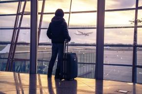 Traveler silhouettes at airport,Beijing